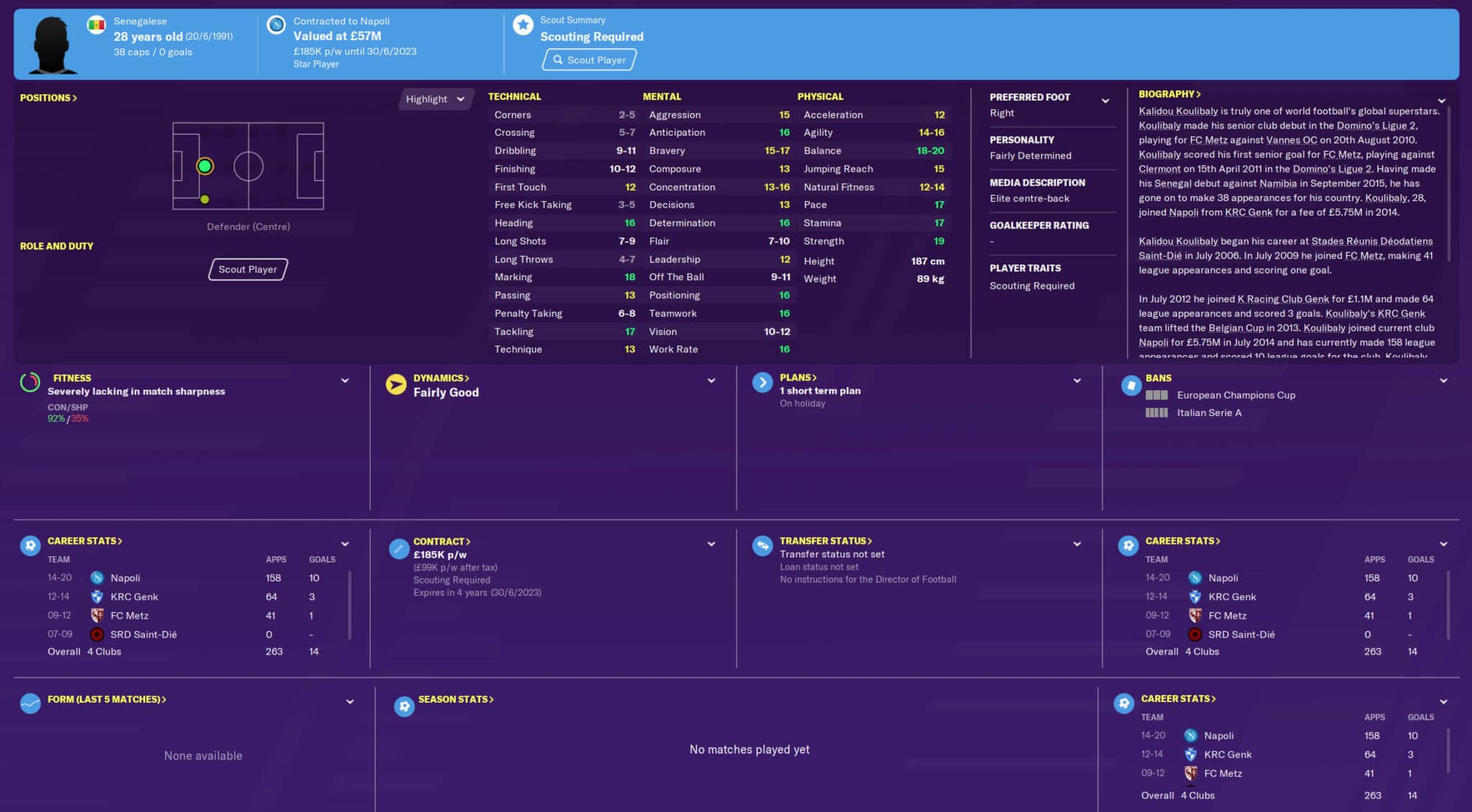 fm20 koulibaly Football Manager 2020 Best Players