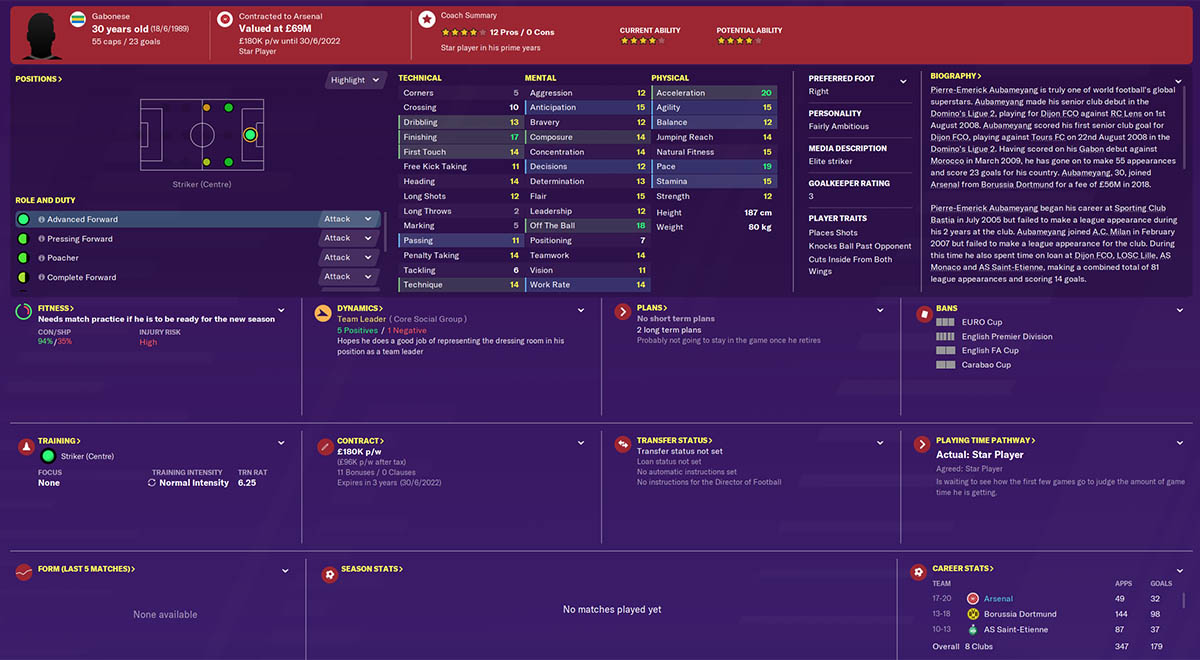fm20 auba football manager 2020 arsenal fm20 arsenal