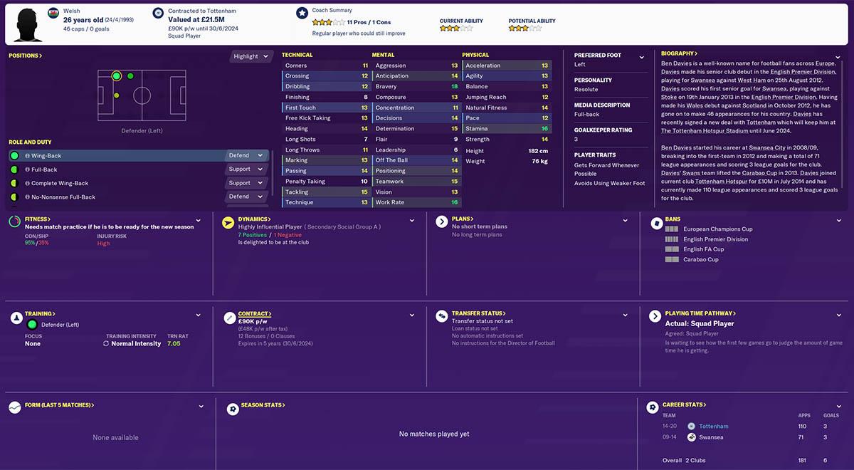 fm20 ben davies football manager 2020 tottenham