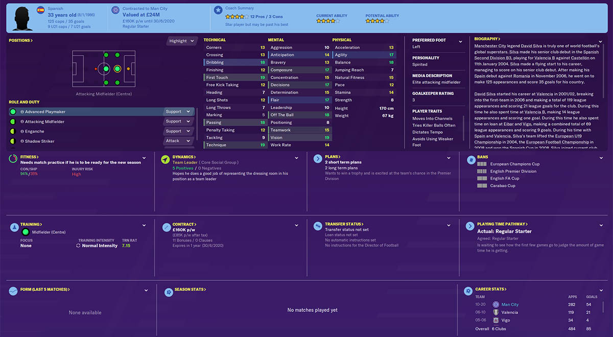 fm20 david silva football manager 2020 manchester city