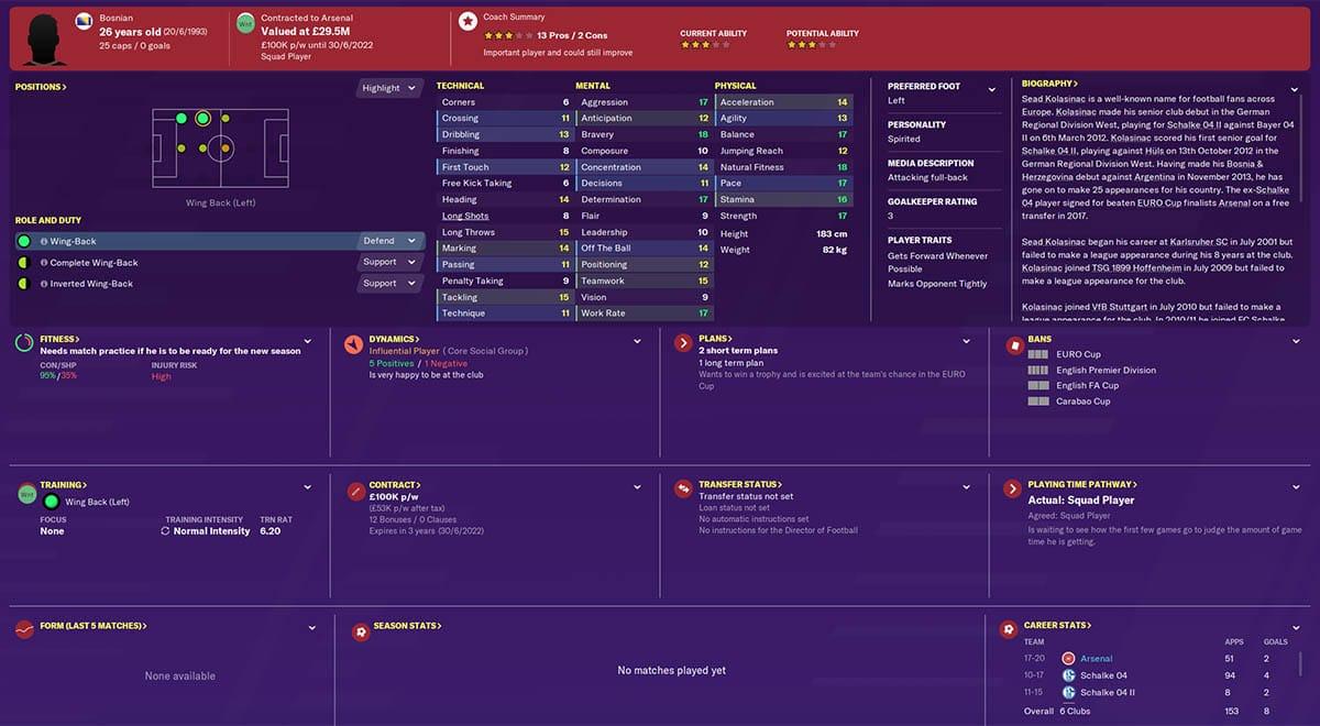 fm20 kolasinac football manager 2020 arsenal