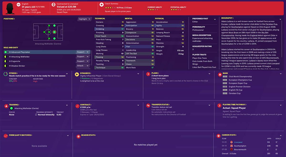 fm20 lallana football manager 2020 liverpool