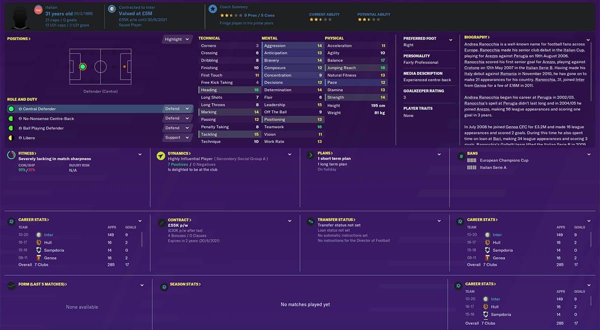 fm20 ranocchia football manager 2020 inter milan