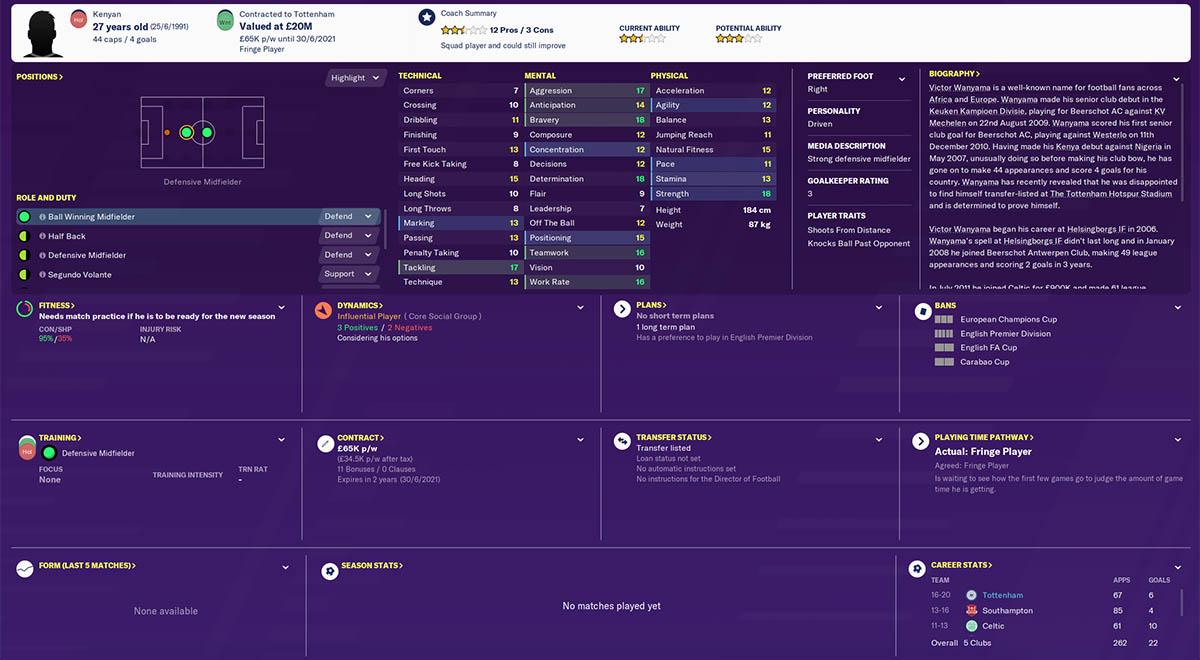 fm20 wanyama football manager 2020 tottenham