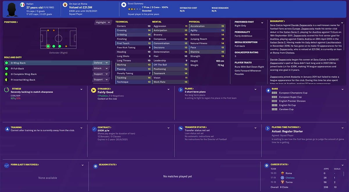 fm20 zappacosta football manager 2020 chelsea