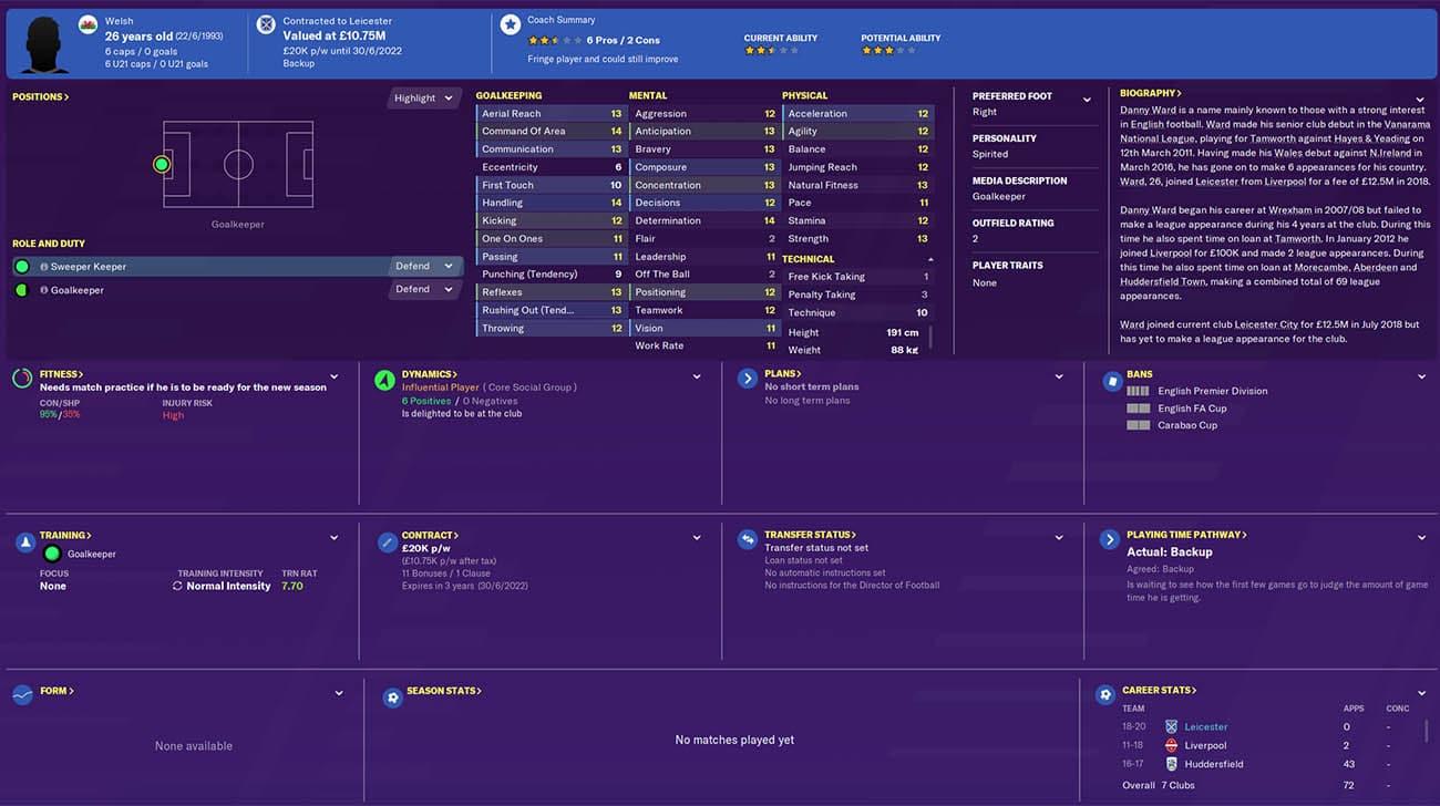 fm20 danny ward football manager 2020 leicester