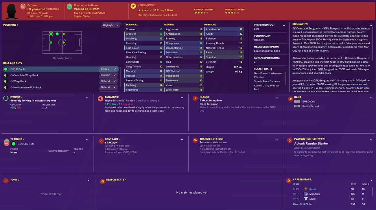 fm20 kolarov football manager 2020 roma