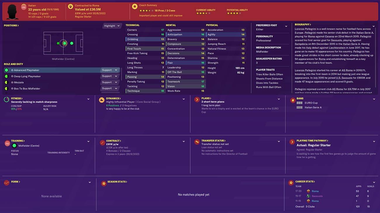 fm20 pellegrini football manager 2020 roma