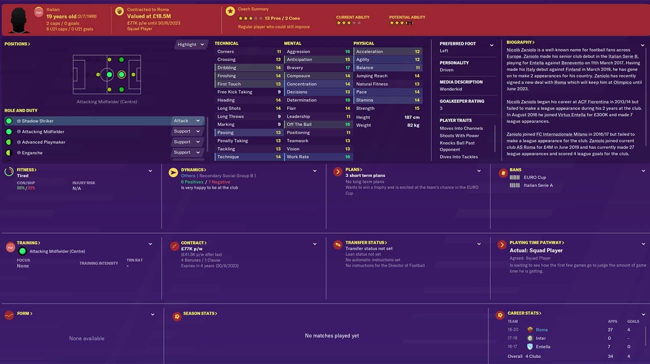fm20 zaniolo football manager 2020 roma