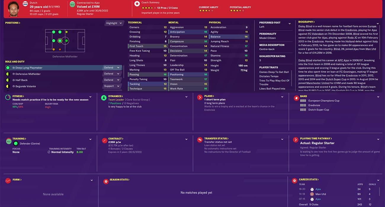 fm20 daley blind football manager 2020 ajax