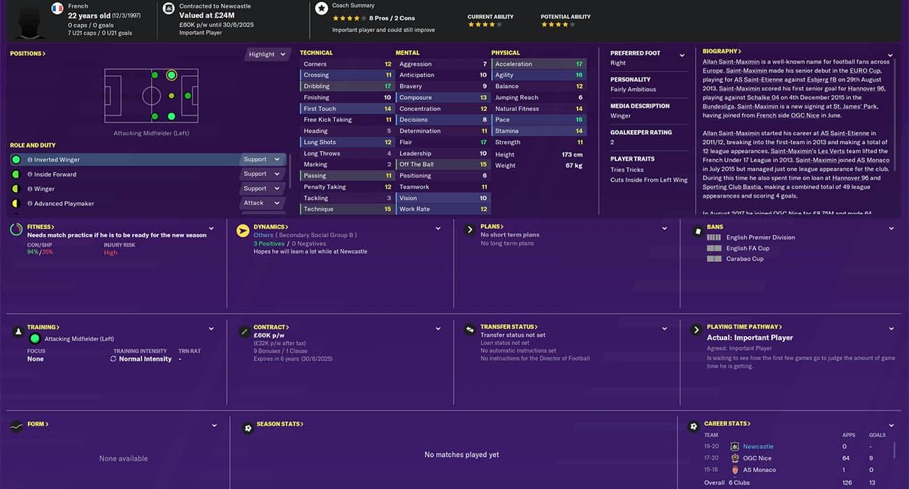 fm20 saint maximin Football Manager 2020 Newcastle